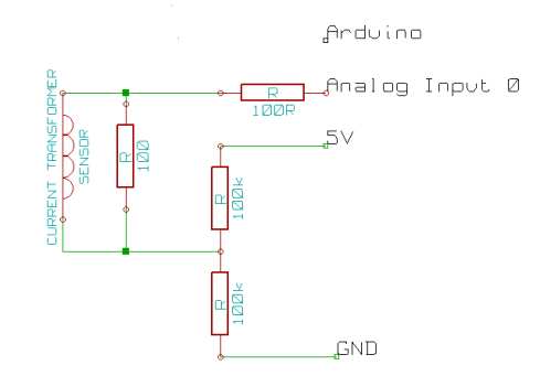 Voltage Divider with CT Sensor Schematic